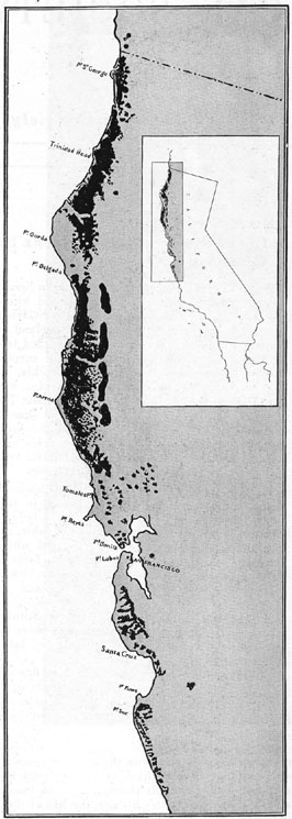 Grant's 1919 map of the redwood forest.